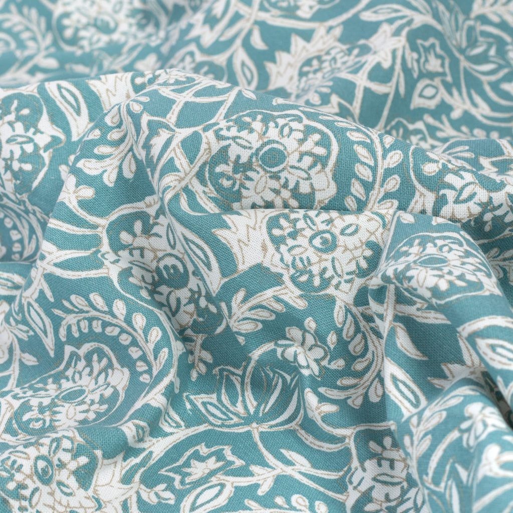Padma Aqua, a tapestry block print pattern cotton fabric : detailed view
