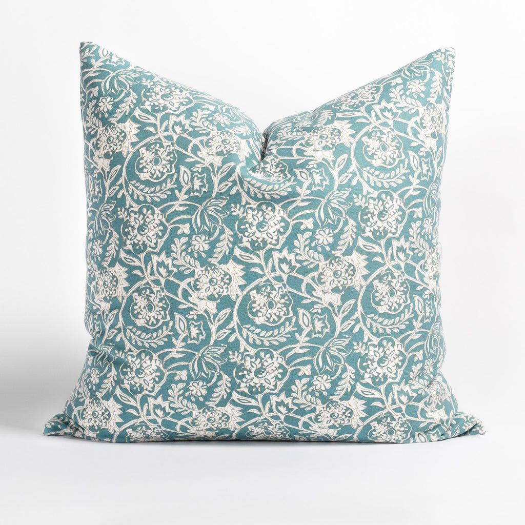 Padma 20x20 Aqua blue and cream tapestry block print pattern cotton pillow from Tonic Living