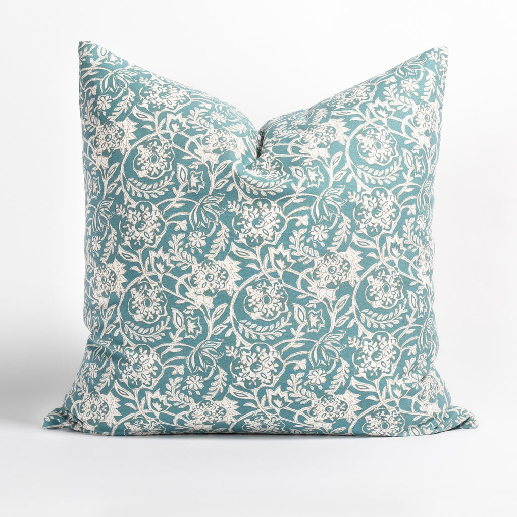 Padma 20x20 Aqua blue and cream tapestry block print pattern cotton pillow
