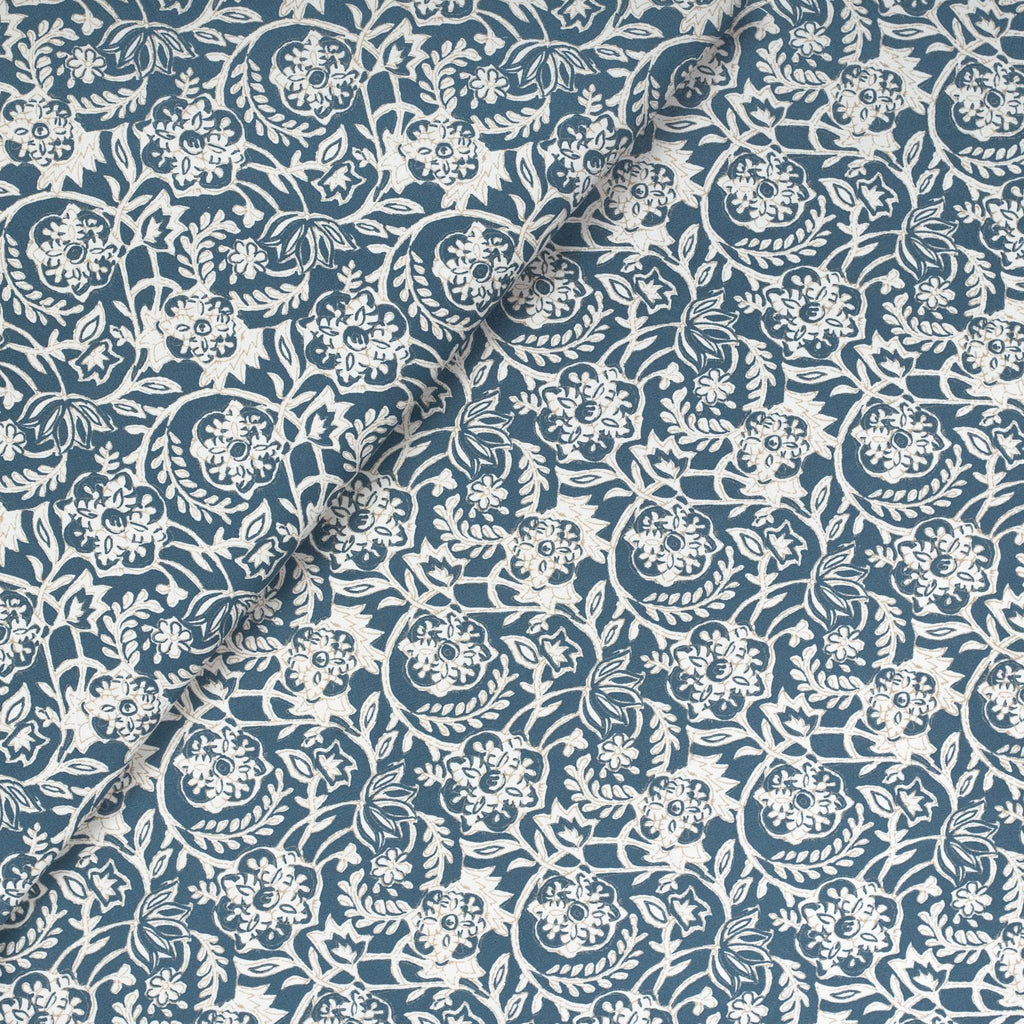 Padma Indigo, a navy blue and cream tapestry block print pattern cotton fabric from Tonic Living