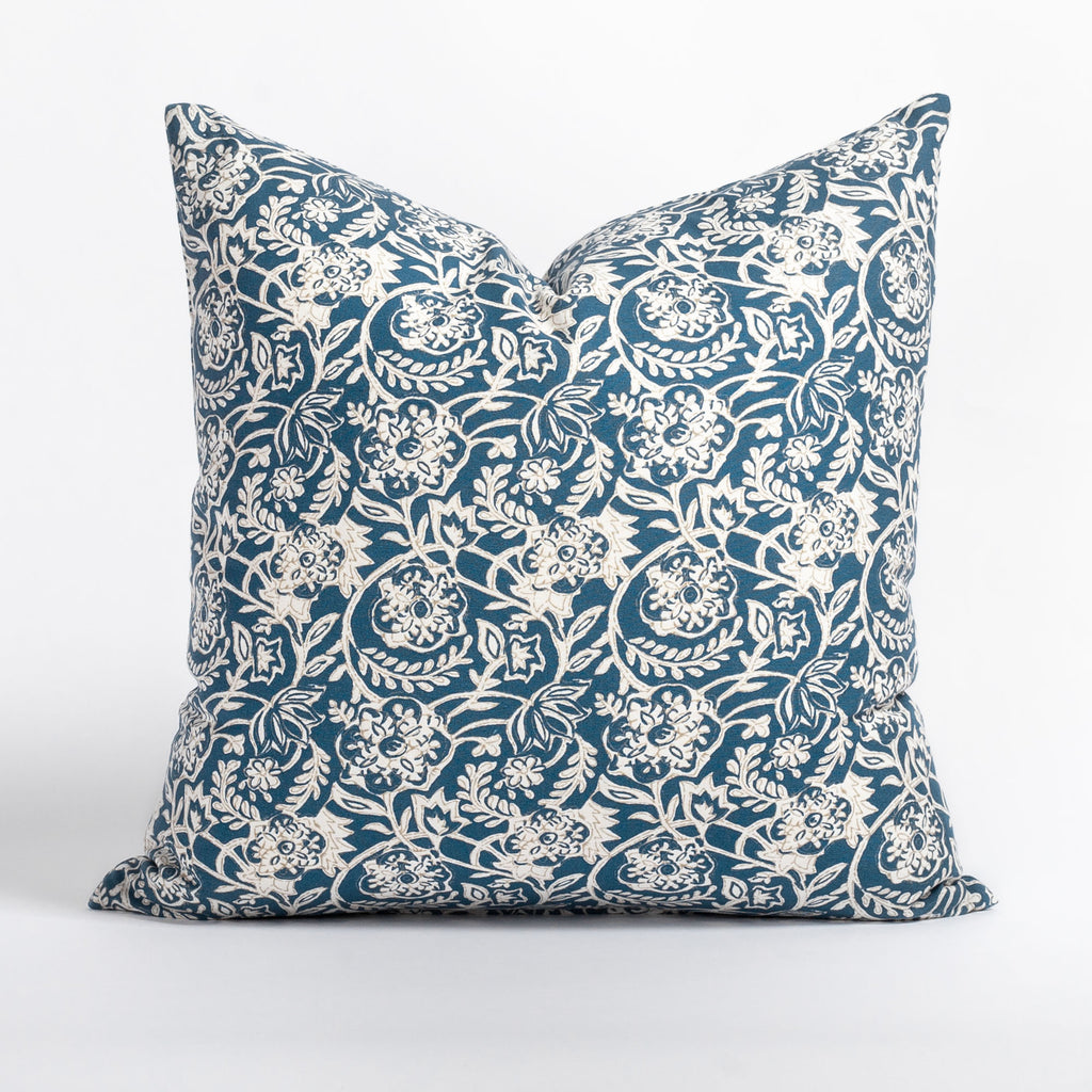 Padma 20x20 Pillow, Indigo, a navy blue and cream tapestry block print pattern cotton pillow from Tonic Living