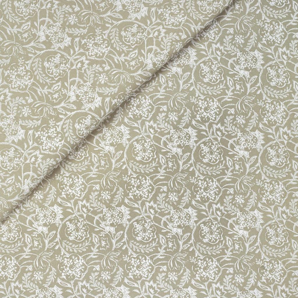 Padma Sand, a khaki beige and cream tapestry block print style cotton fabric from Tonic Living