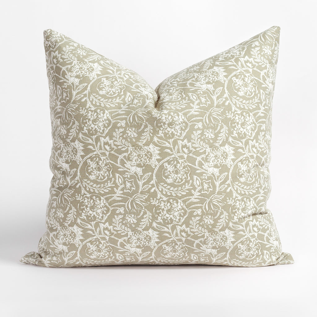 Padma 20x20 Pillow, Sand, a sandy beige and cream tapestry block print pattern cotton pillow from Tonic Living