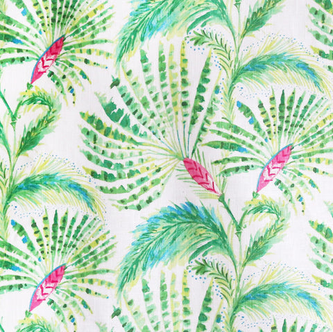 A fan palm tree fabric in lime and grass green, hibiscus pink and ocean blue on a white background. Suitable for upholstery, drapery, curtains, roman blinds, cushions, pillows and other home decor accessories.