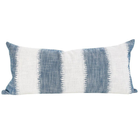 Passagio, Batik - A large scale ikat style striped pillow in denim blue and cream with a global feel. Extra long Lumbar pillow.