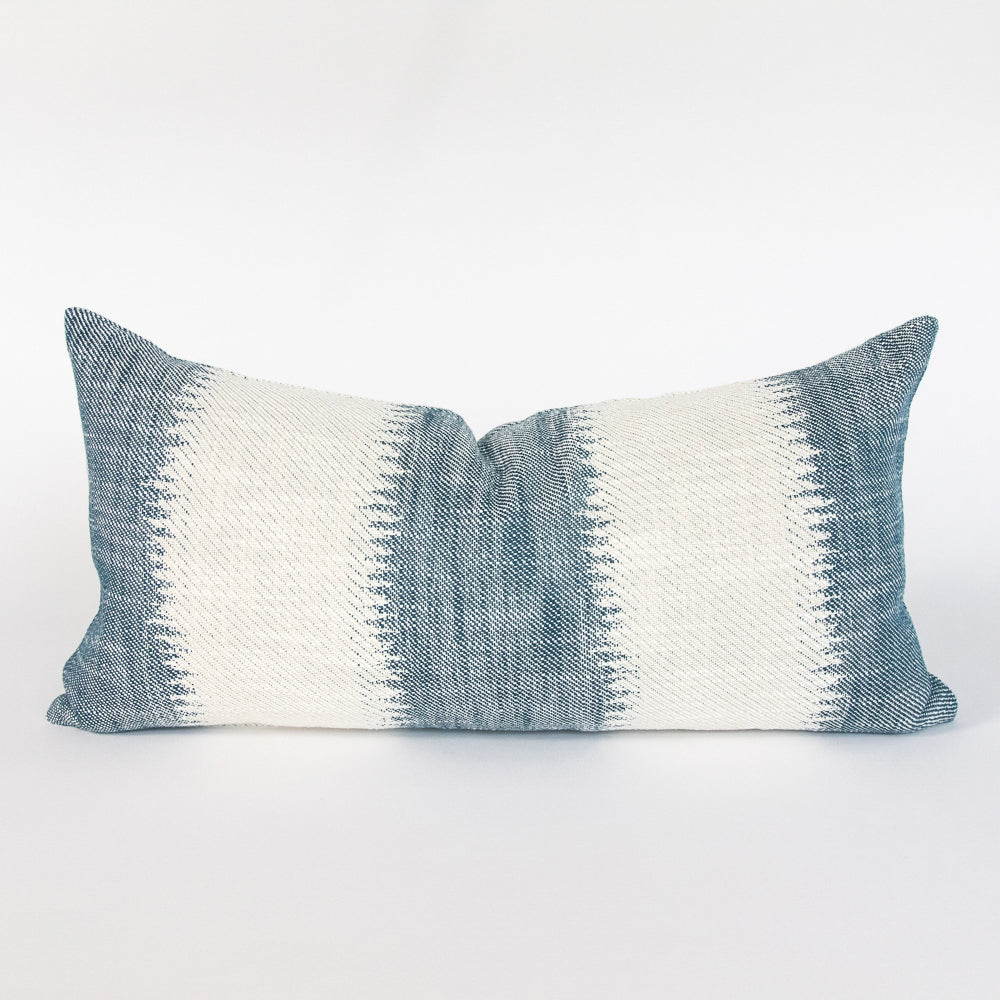 Passagio Batik blue and cream stripe lumbar pillow from Tonic Living