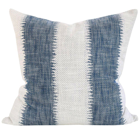 Passagio, Batik - A large scale ikat style striped pillow in denim blue and cream with a global feel