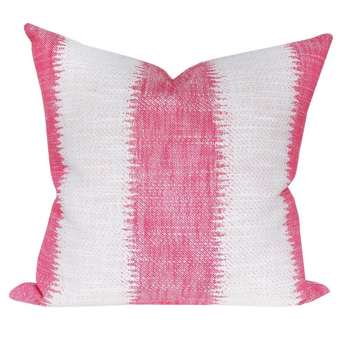 Passagio, Confetti - A large scale ikat style striped hot pink pillow with a global feel.