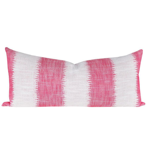 Passagio, Confetti - An extra-long pillow with a  large scale ikat style striped hot pink.