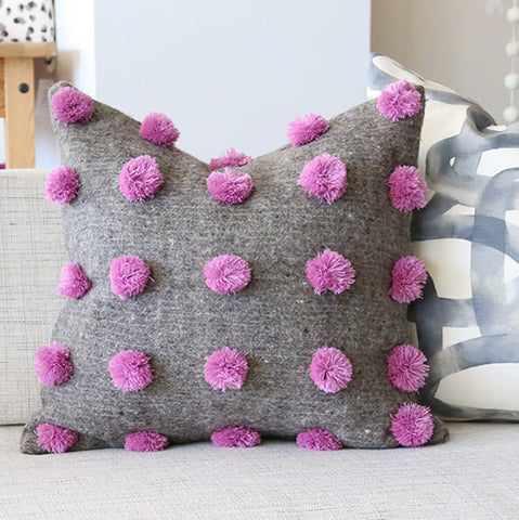 Pom Pom Pillow, Fuchsia + Warm Grey