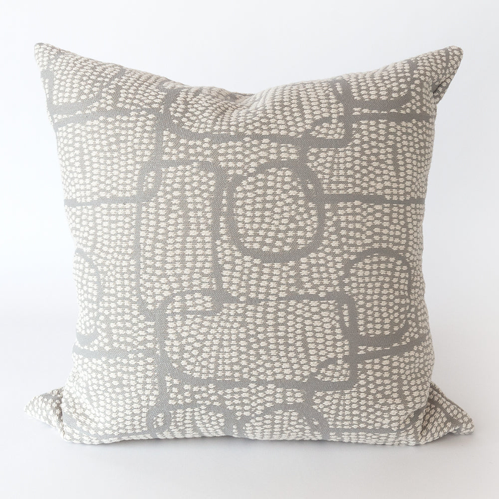 Pointillism, Zinc grey and cream abstract pillow