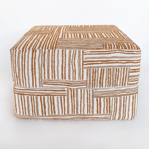 Quinn, Folksy Ottoman Cube - A cool, cross hatched patterned fabric in amber-cognac and cream made of a heavier, woven jacquard.