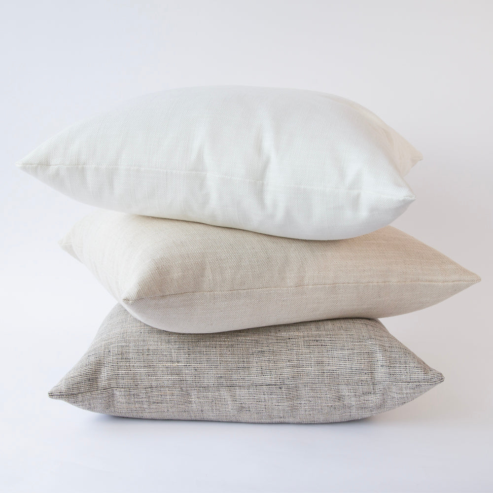 large white cotton linen blend pillow by Tonic Living