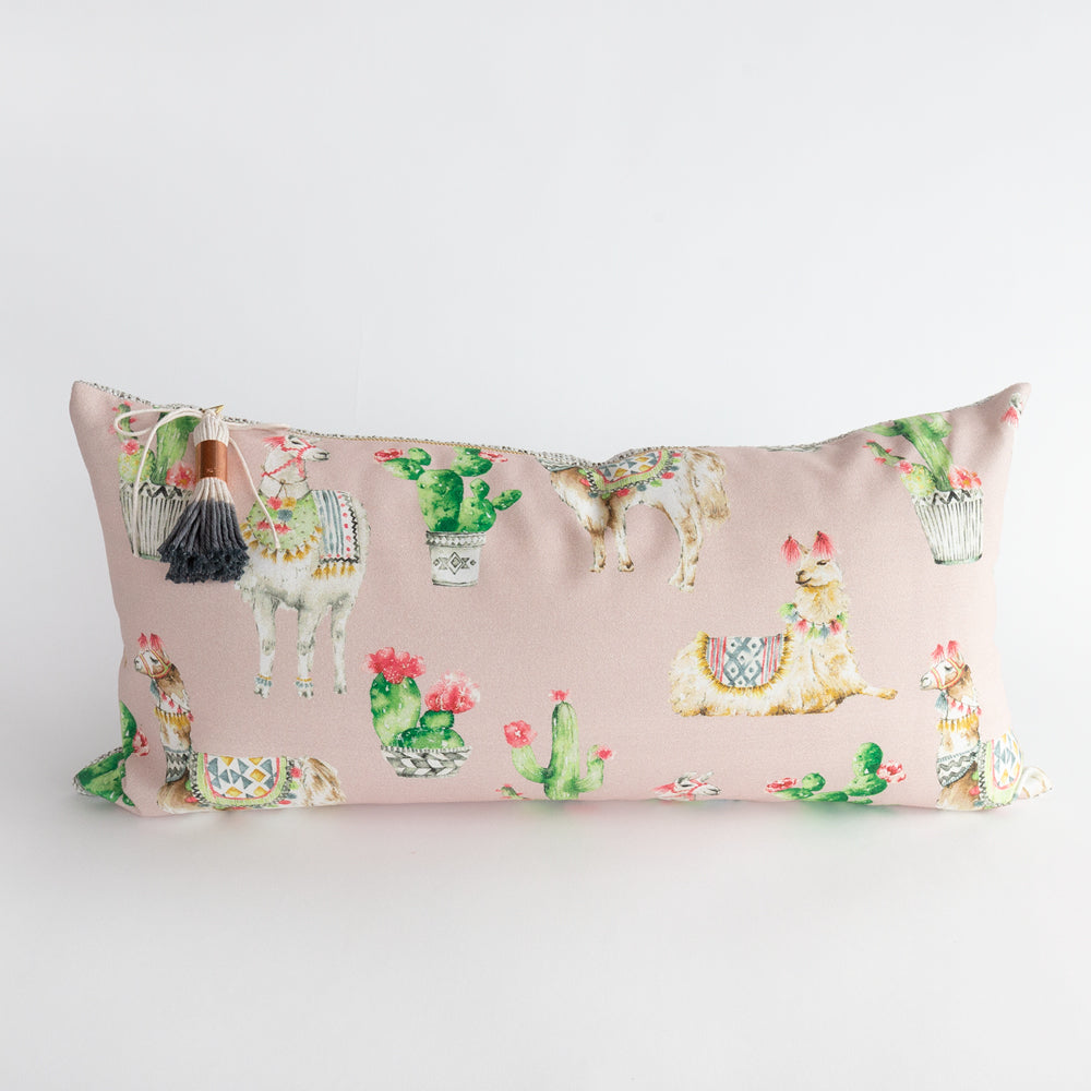 Rama Llama Lumbar Pillow in blush pink from Tonic Living