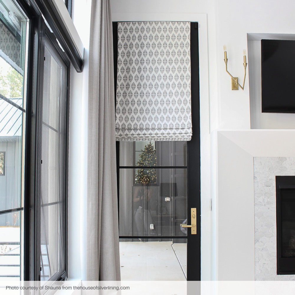 Reflect, black, custom roman by Tonic Living, forest modern bedroom