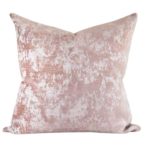 Reggio Velvet, Dusted Pink - A textured velvet pillow with a herringbone pattern in a dusted peony pink colour.