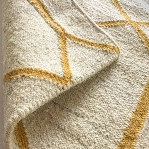 Renna, Yellow Gold - This Dhurrie flat-weave rug is a great way to bring visual interest into your home.