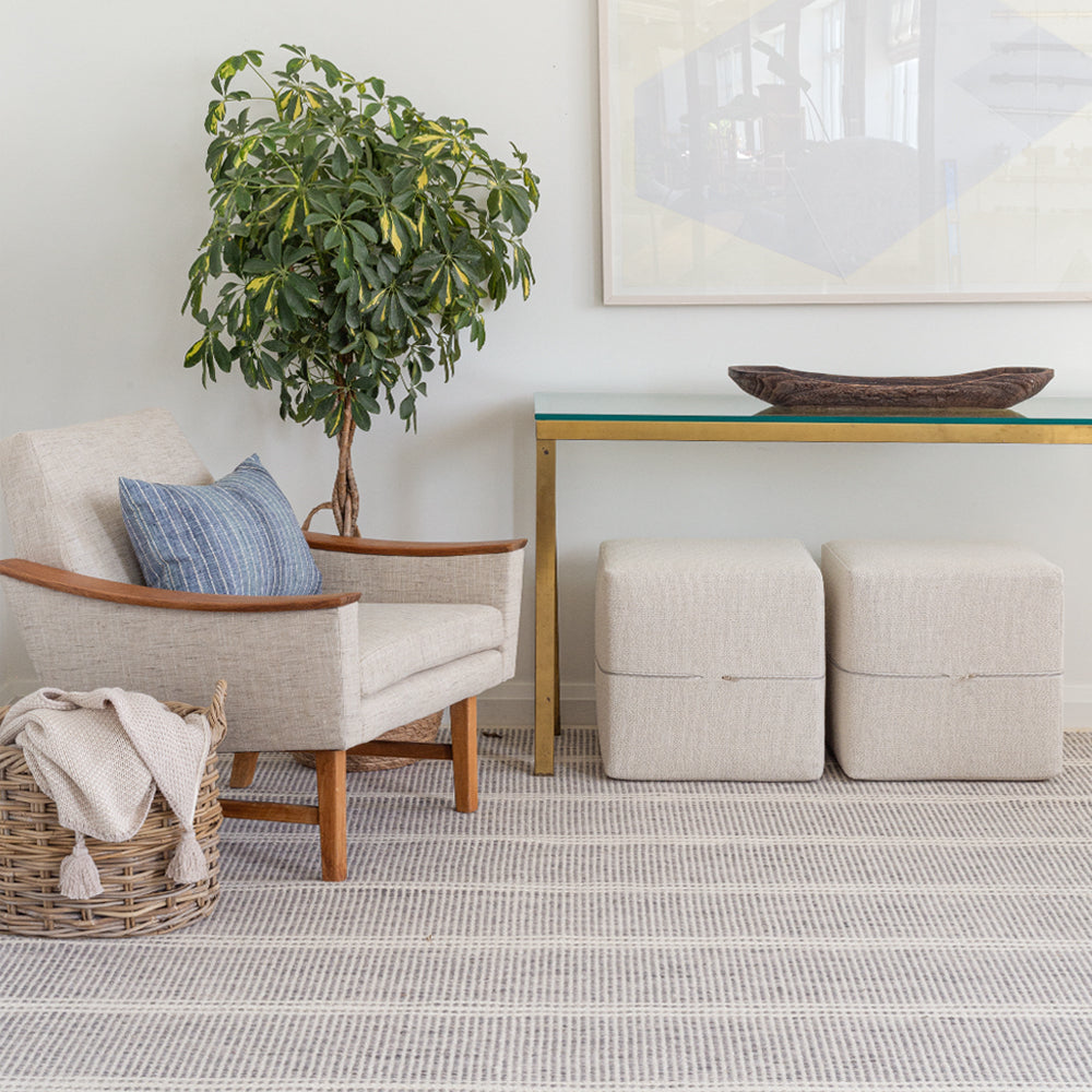 Pillow, ottomans, rug and accessories from Tonic Living