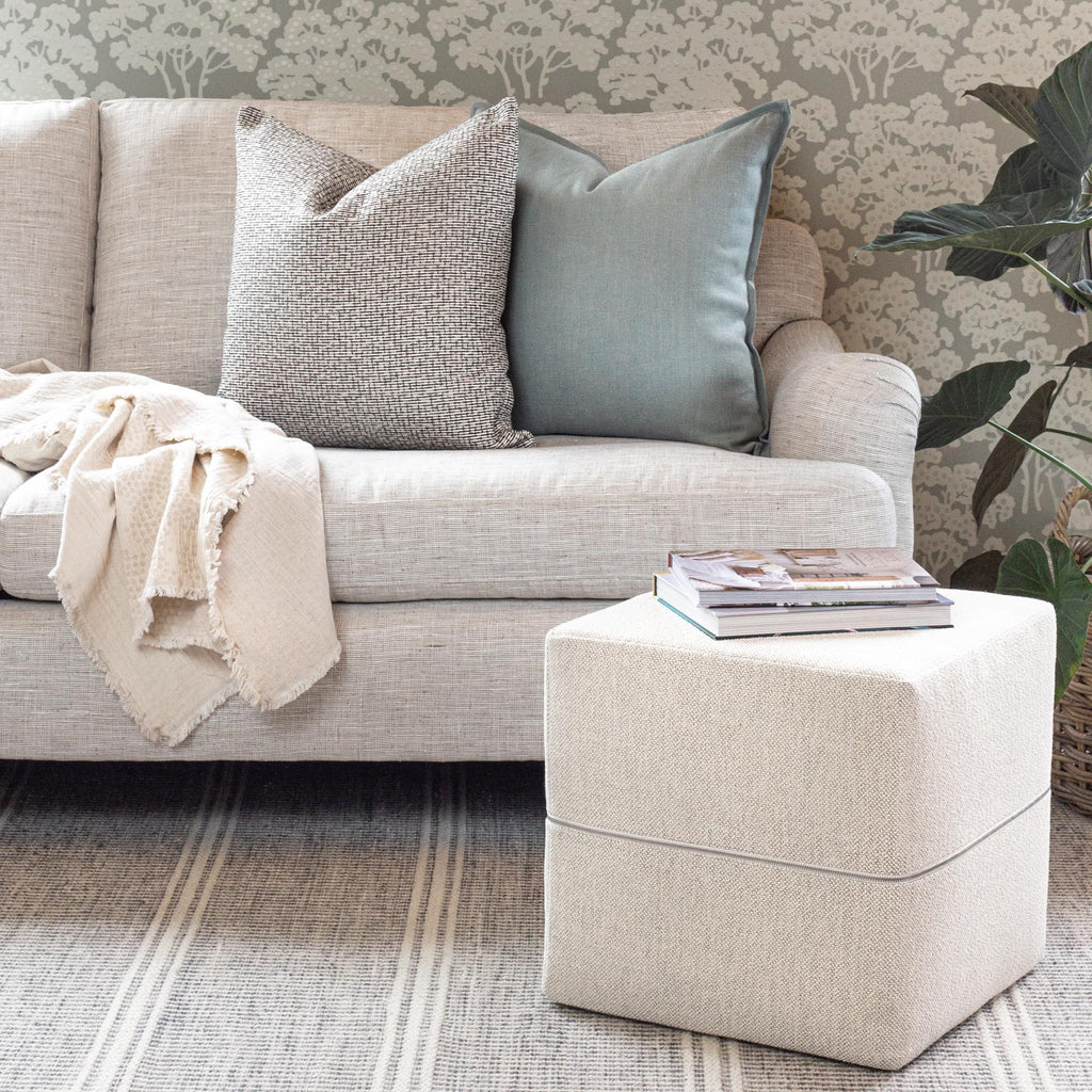 Ridgley Cream cube ottoman and pillow combo from Tonic Living