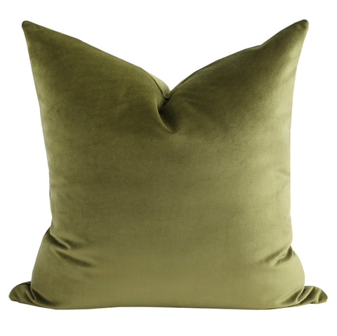 Ritz Velvet, Fern - A lighter fern green pillow in a lush, short velvet.