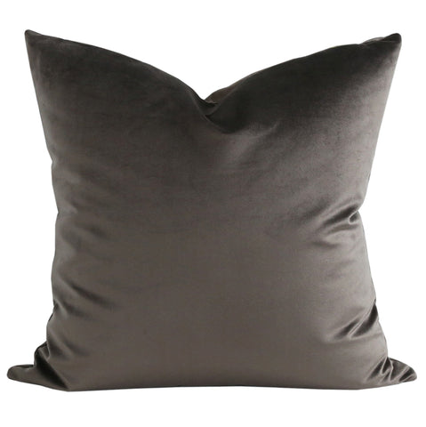 "Ritz Velvet, Mink -A deep, earthy mink pillow in a lush, short velvet in 20"" x 20""."