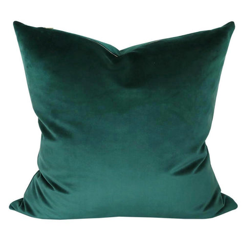 Ritz Velvet, Balsam Green - A balsam green velvet pillow in a short velvet with an exposed brass zipper.