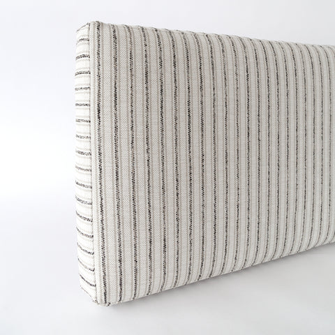 Ikea Kallax shelf hack storage bench cushion in Rodin, Natural black and beige striped