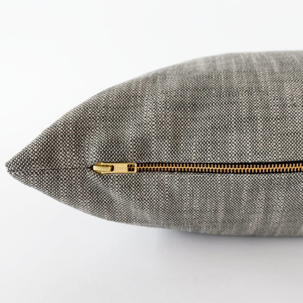 Rollo lumbar outdoor pillow, charcoal grey mink, Tonic Living