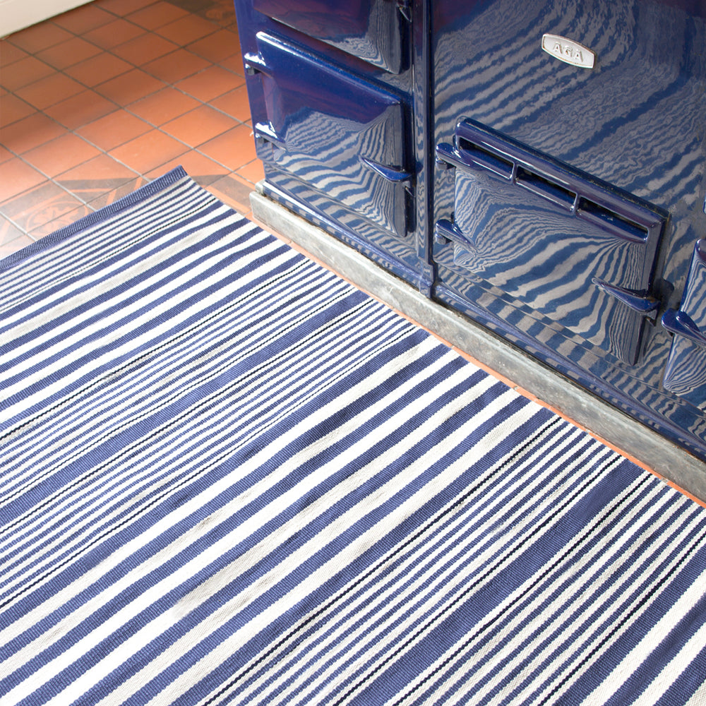 rugby stripe denim dash and albert rug at tonic living