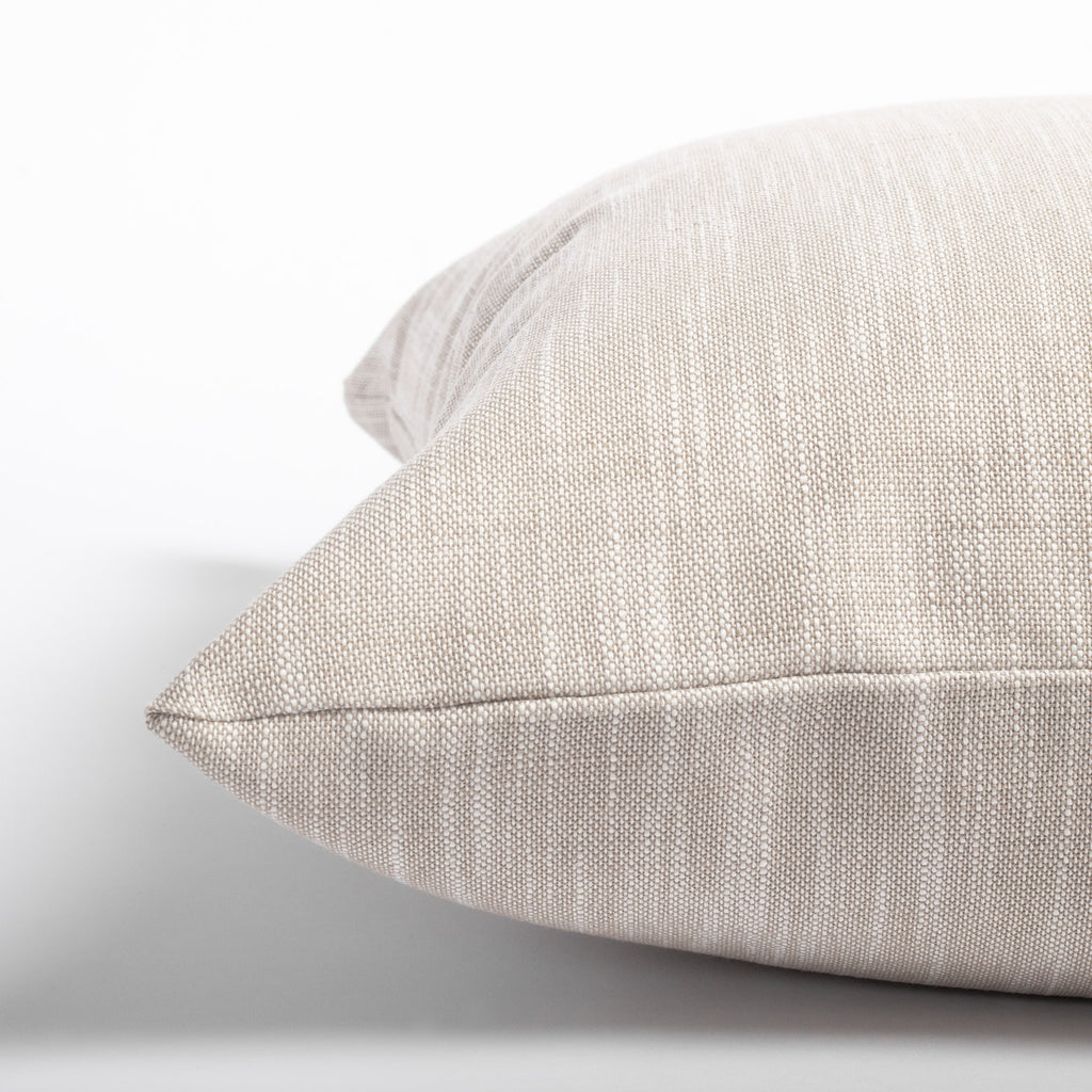 Ryder Swell, a linen tone indoor outdoor pillow: close up view