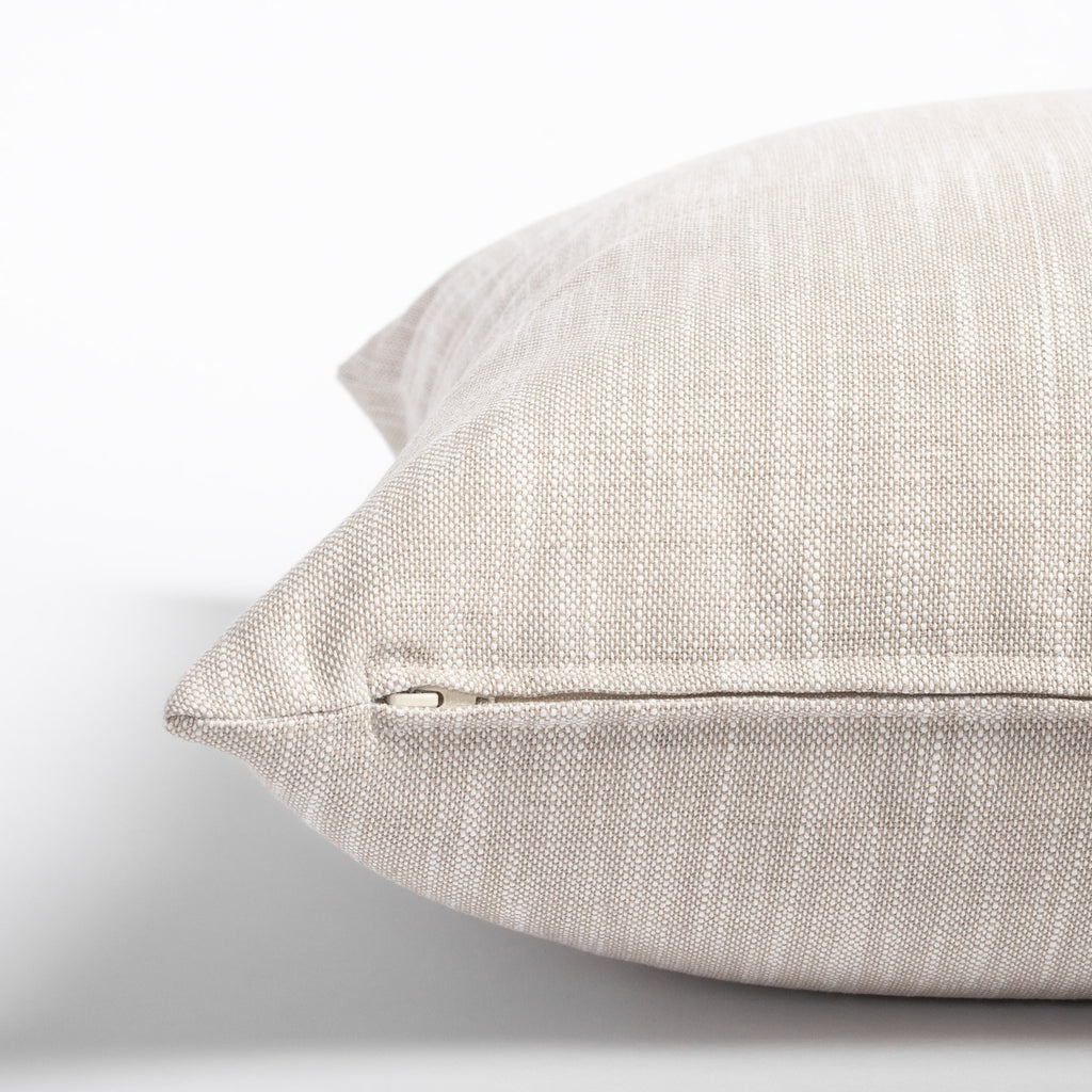 Ryder Swell, a linen tone indoor outdoor pillow: zipper detail