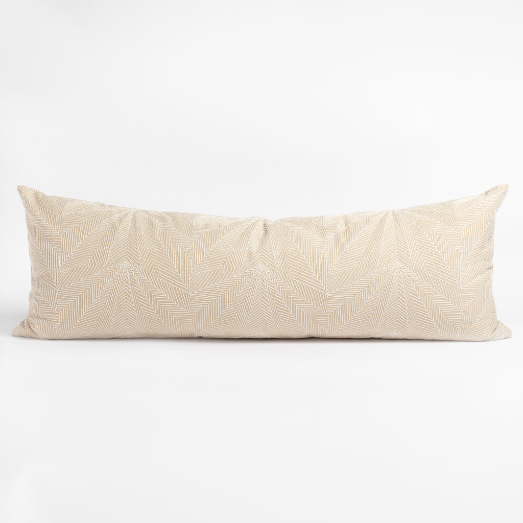 Sardee beige embroidery bolster bed pillow from Tonic Living