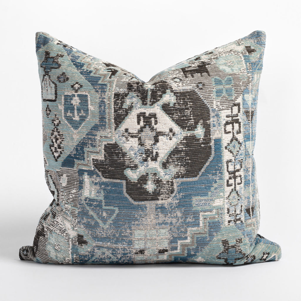 Saro Harbour Blue 22x22 pillow, a stone-blue, aqua and faded charcoal tapestry pattern pillow from Tonic Living