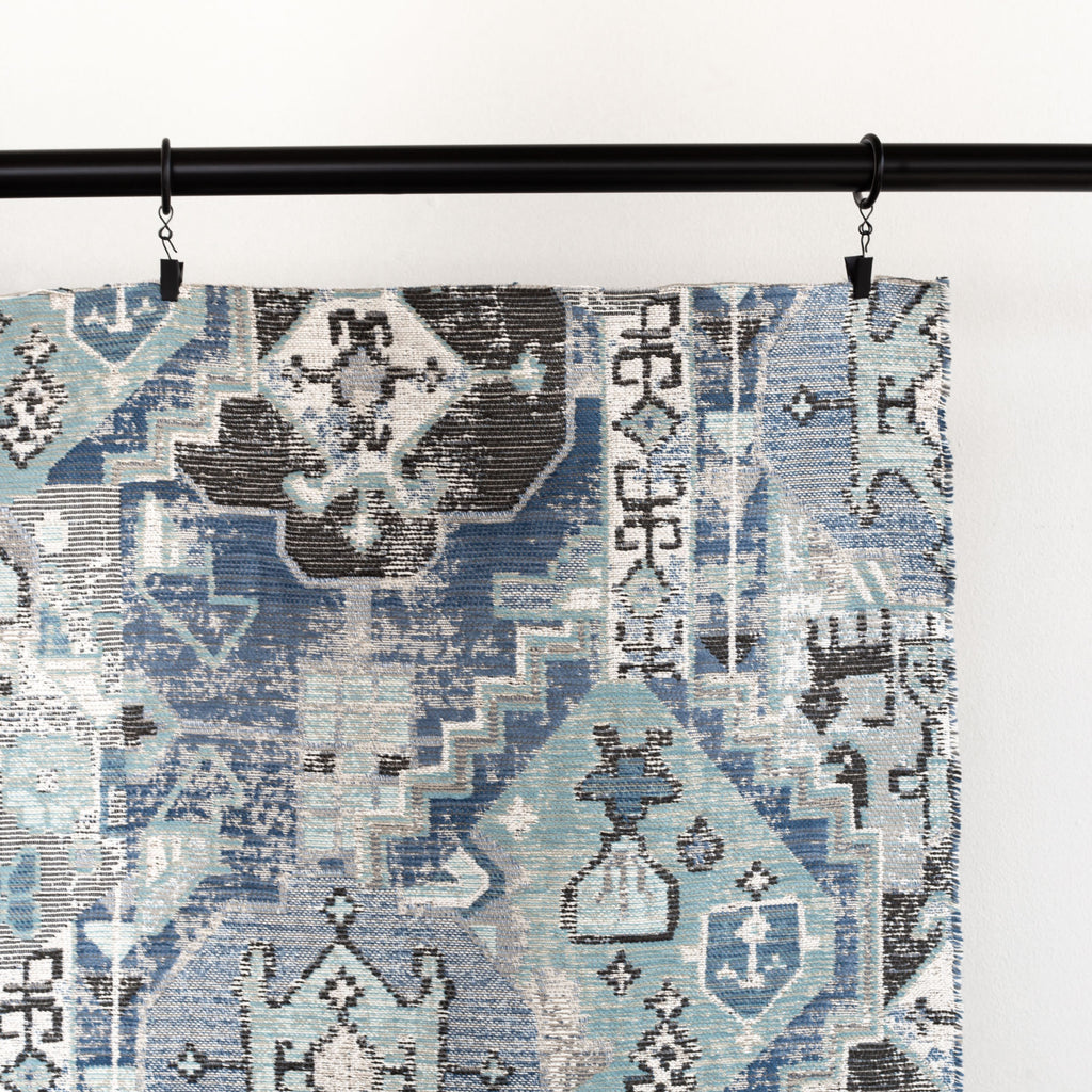 Saro Harbour Blue, a stone blue, aqua and charcoal geometric tapestry patterned upholstery fabric : detail view