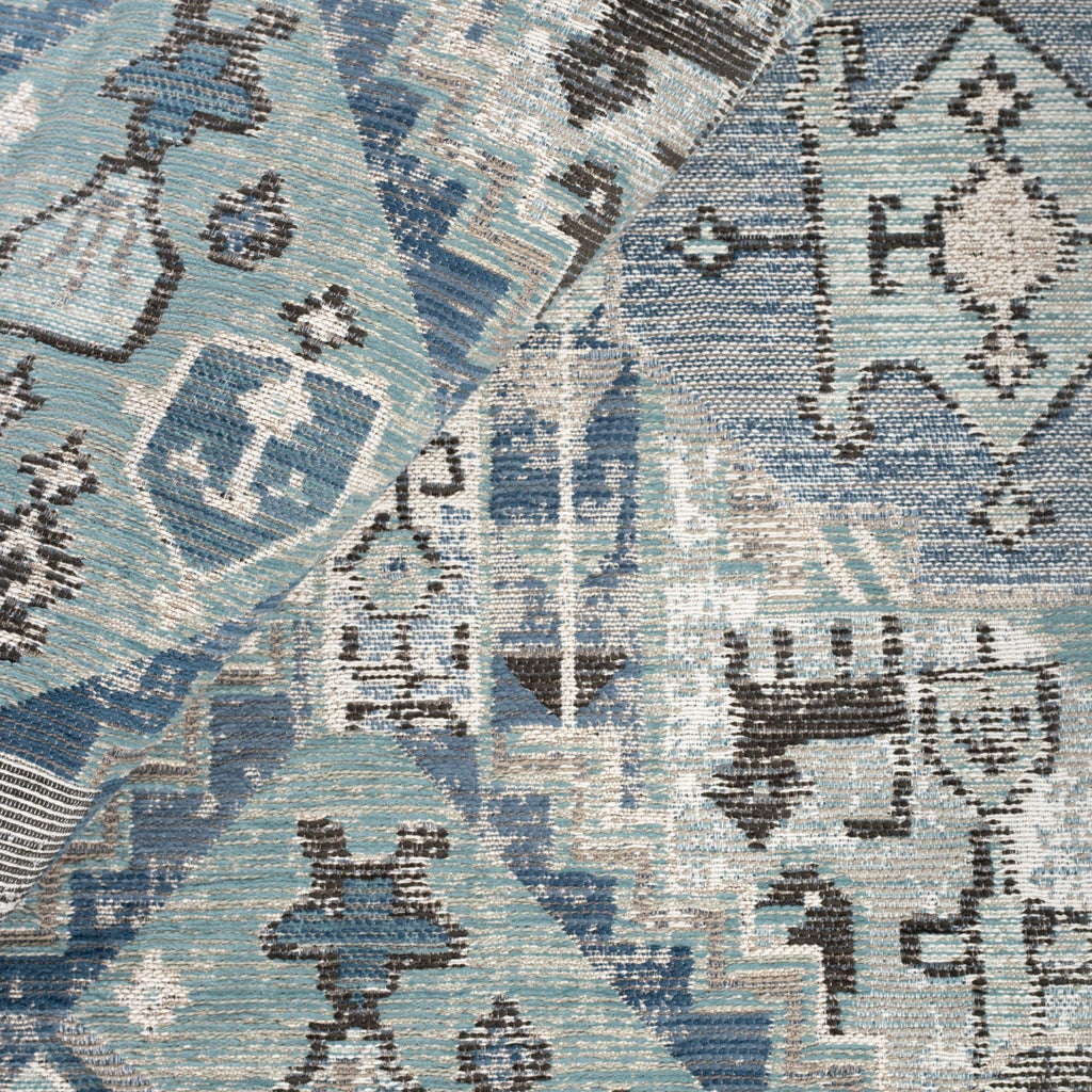Saro Harbour Blue, a stone blue, aqua and charcoal tapestry pattern upholstery fabric from Tonic Living