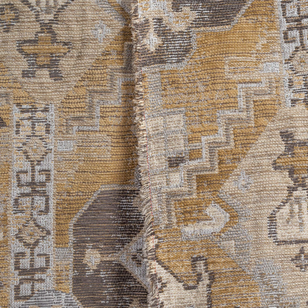 earth tone turkish pattern upholstery fabric close up view