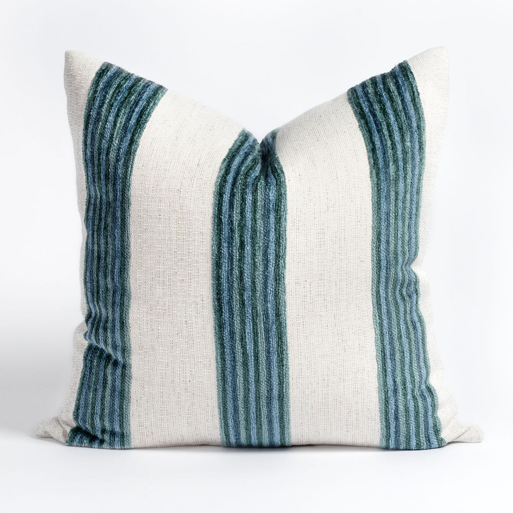 Satori blue and cream wide vertical stripe pillow from Tonic Living