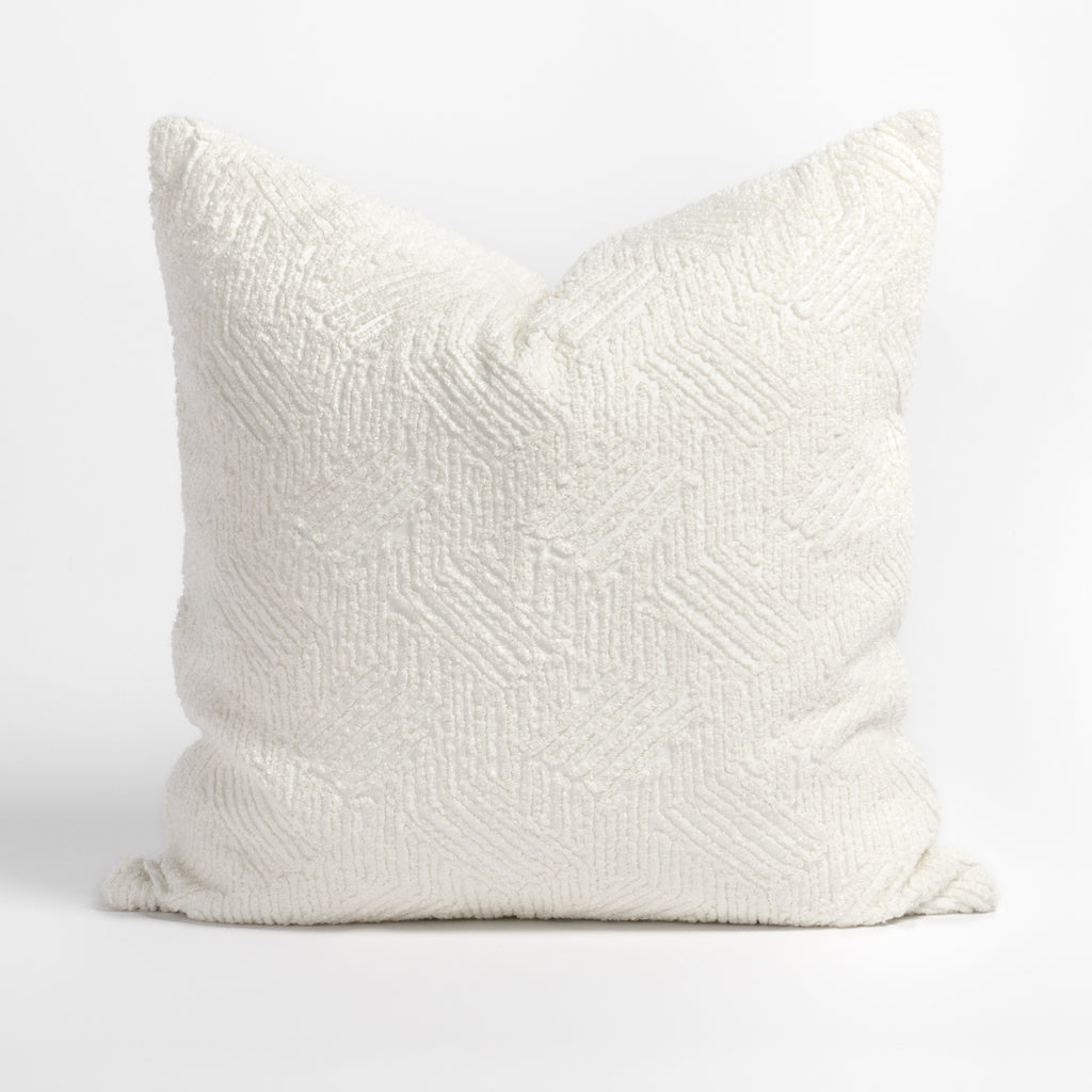 Shantay cloud white pillow, a looped chenille in a modern geometric pattern pillow from Tonic Living