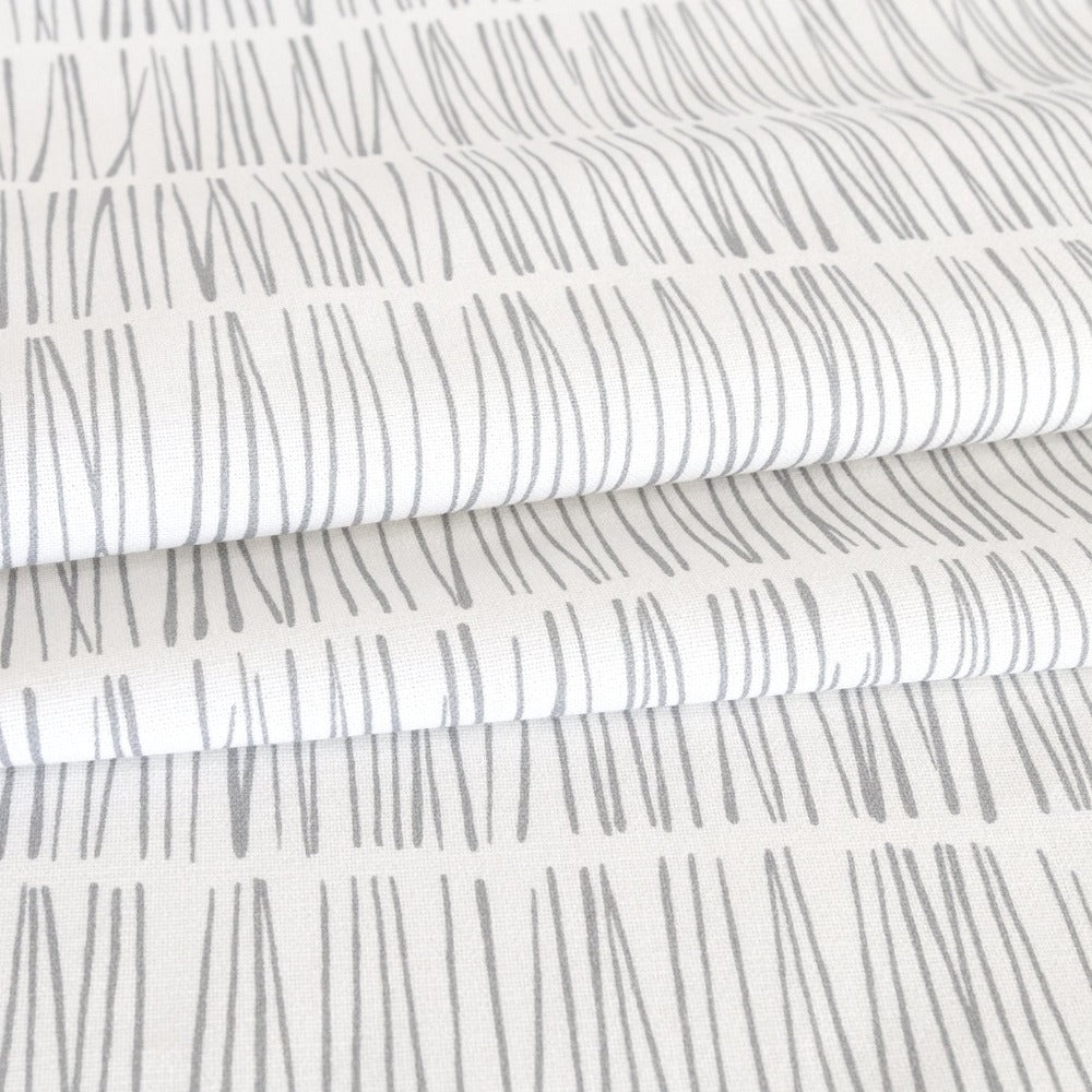 Shelby Fabric, Stone, grey and white modern matchstick print from Tonic Living