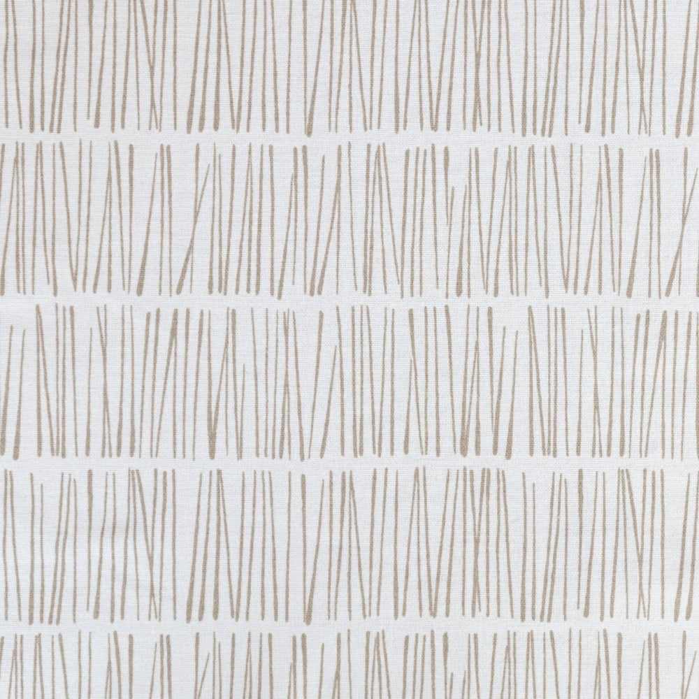 Shelby Fabric, Flax, beige and white modern matchstick print