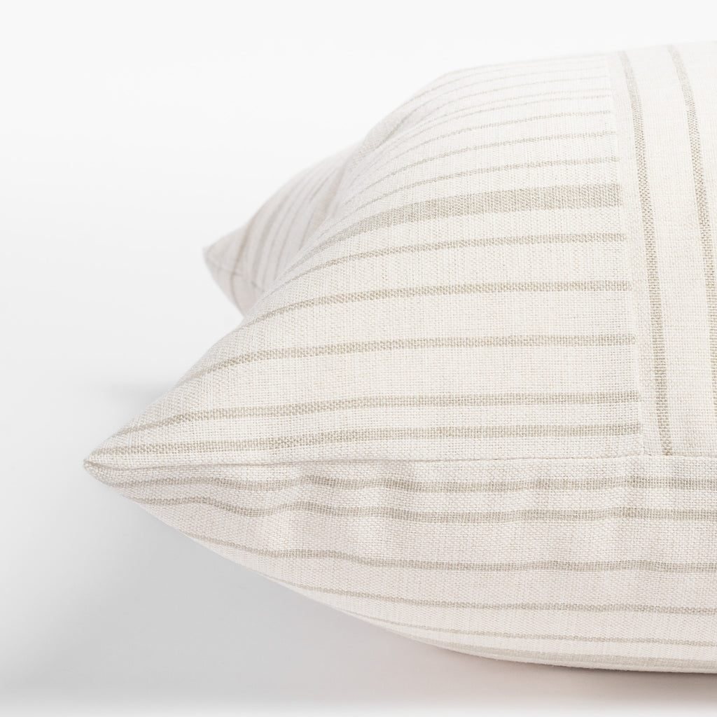 Shoreline taupe and cream stripe pillow : side view