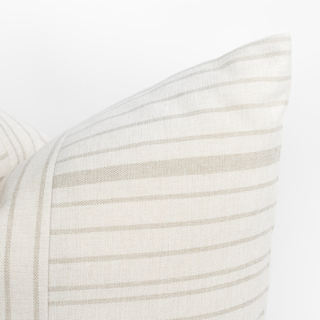Shoreline taupe and cream stripe pillow : detail view