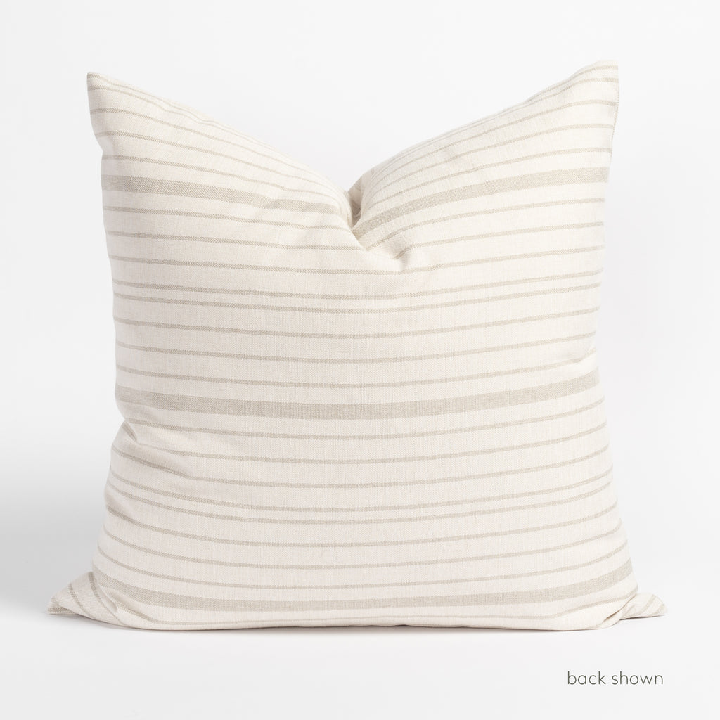 Shoreline taupe and cream horizontal stripe pillow : Back view