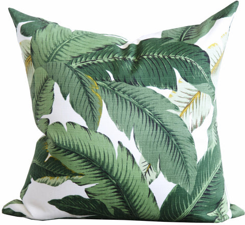 Swaying Palms, Aloe - A banana leaf pillow in shades of green with creamy white and black with a small touch of yellow.