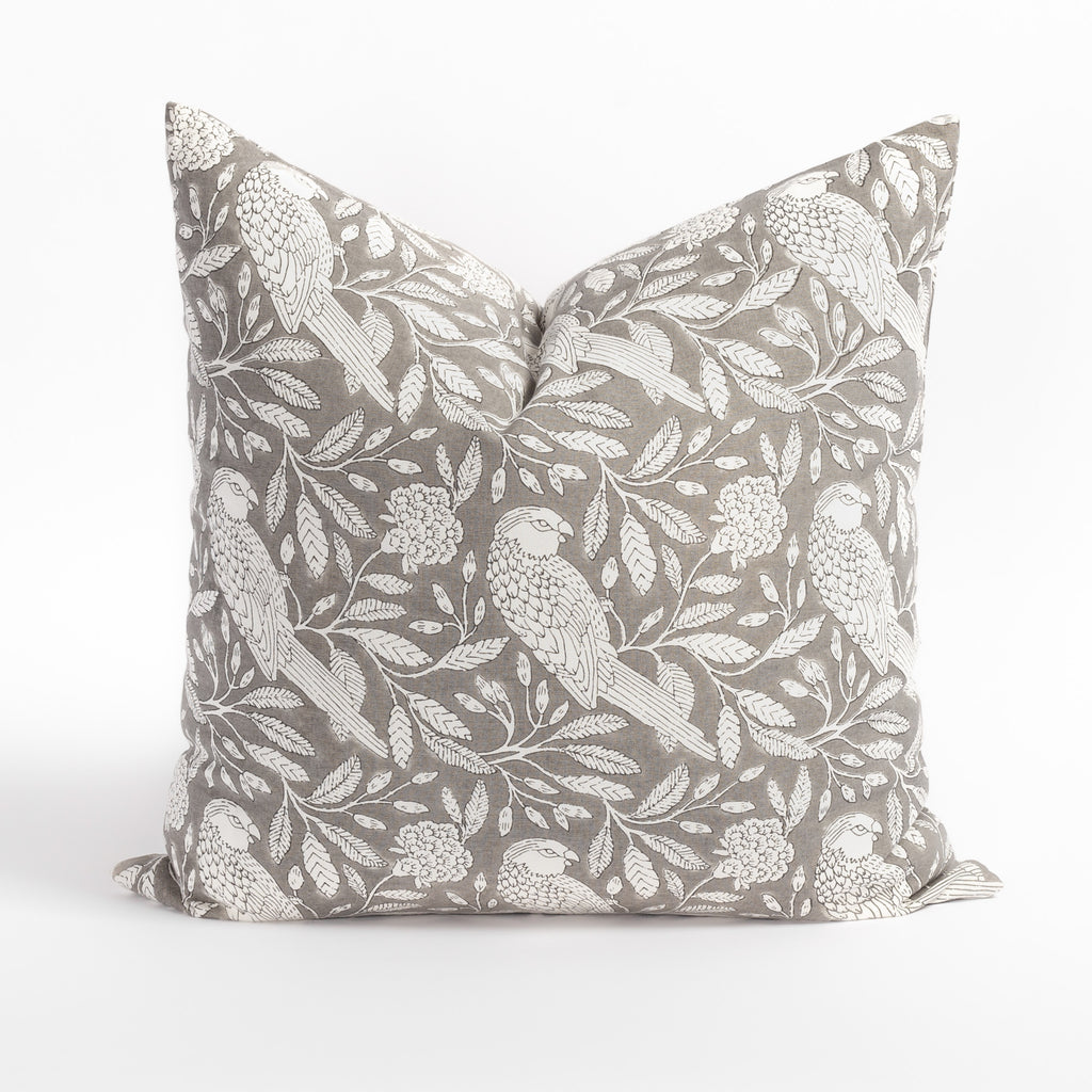 Tippi grey and cream botanical print cotton pillow from Tonic Living