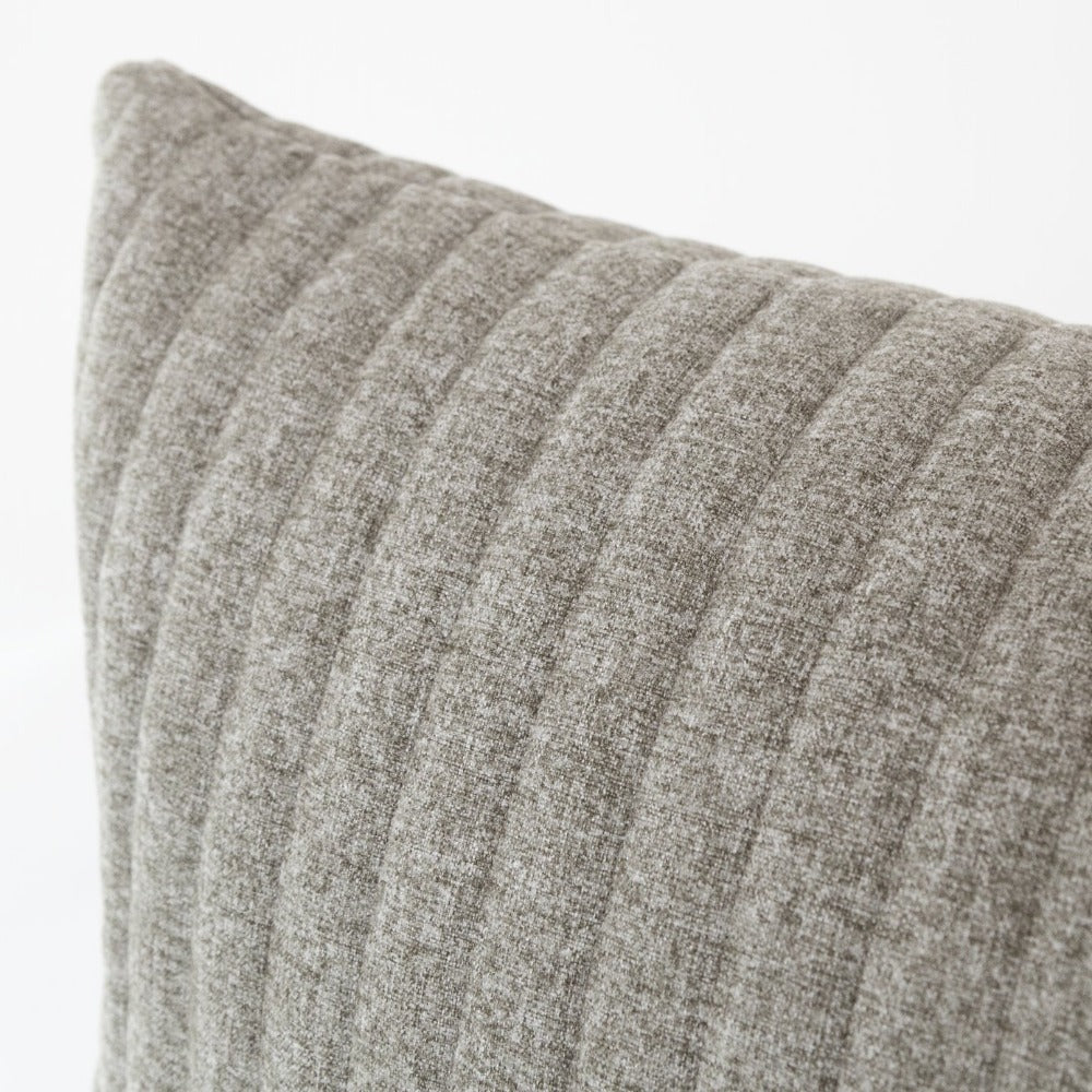 Tobermory Quilted Felt Extra Long Pillow, Flannel, a large lumbar in quilted grey flannel felt from Tonic Living