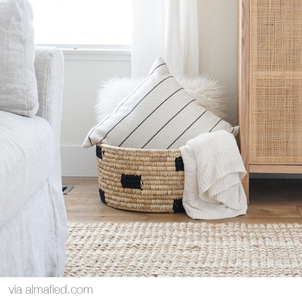 Cream white and black stripe pillow from Tonic Living