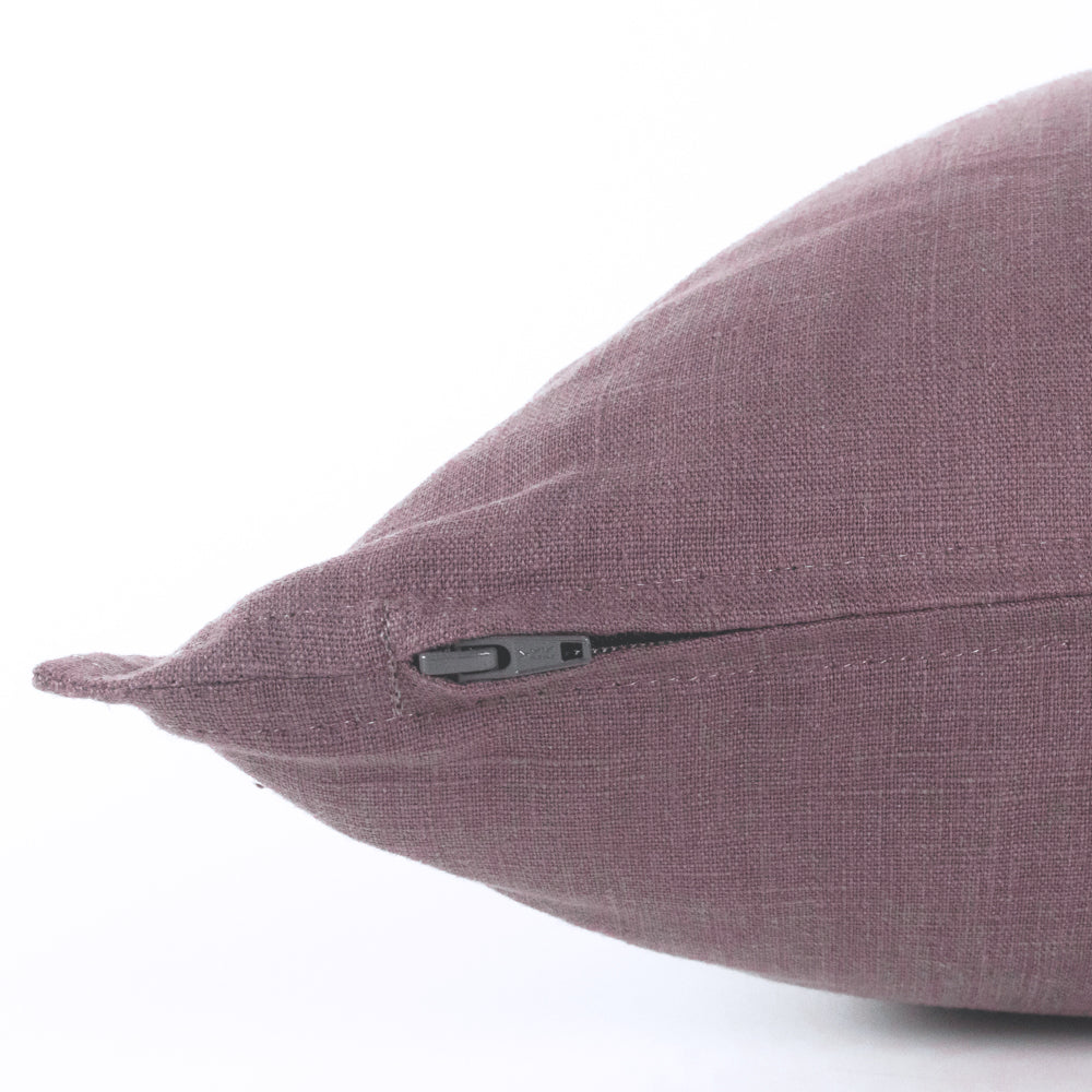 Tuscany Linen dusted plum purple pillow with flange detail from Tonic Living