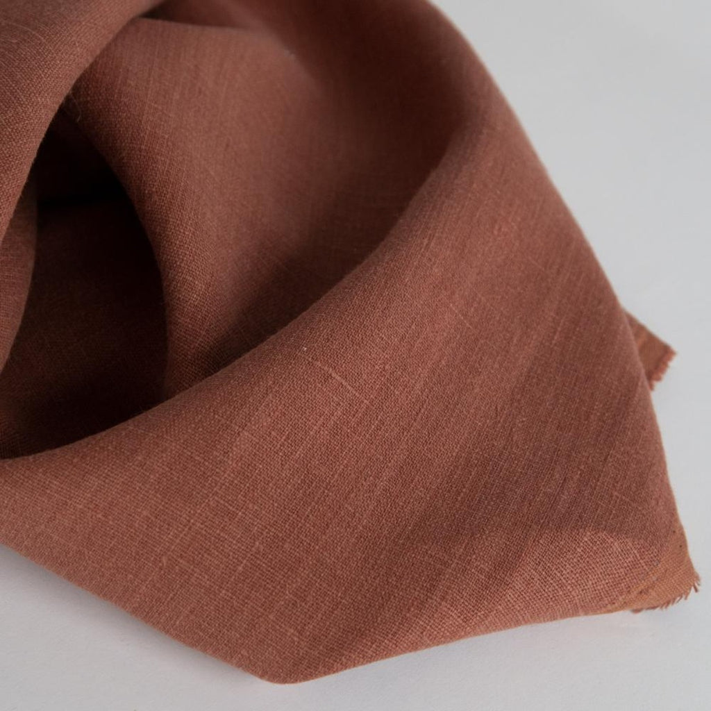 rusty red drapery linen fabric tonic living