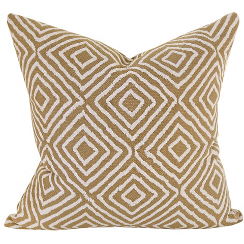 Underwood, Cognac - A camel coloured throw pillow with contrasting creamy white diamonds for a decidedly desert chic feel.